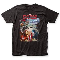 Captain America - Mens Civil War Battle Fitted T-Shirt