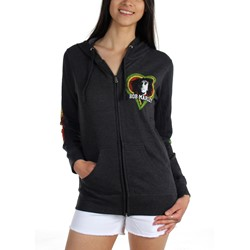 Catch A Fire - One Love Smile Zip Hoodie Ladies Womens Zip Hoodie In Black