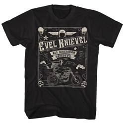 Evel Knievel - Mens Skulld Border T-Shirt