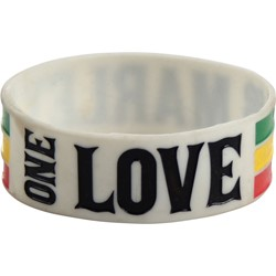 Bob Marley - One Love Silicone Wristband Wristband In White