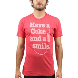 Coca Cola - Mens Have a Smile T-Shirt in Heather Red