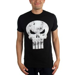 Marvel Comics - Mens The Punisher White Logo Distressed Fitted T-Shirt In Black