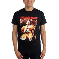 Texas Chainsaw Massacre - Mens Leatherface & Grandpa T-Shirt In Black