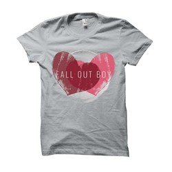 Fall Out Boy - Womens Weathered Hearts T-Shirt