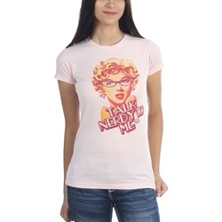 Marilyn Monroe - Womens Nerdy T-Shirt In Light Pink Bf Tee