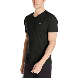 Lacoste - Mens Short Sleeve Pima Jersey V-Neck T-Shirt in Black
