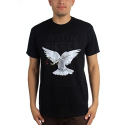 Justin Bieber - Mens Dove With Dead Rose T-Shirt