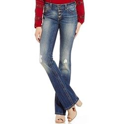Miss Me - Womens Button Front Destructed Bootcut Jeans