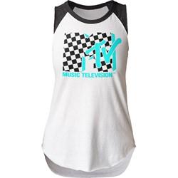 MTV - Womens Checkered Juniors Sleeveless Raglan