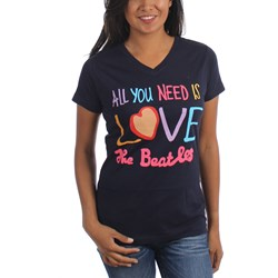 The Beatles - Womens All You Need Is Love V-Neck T-Shirt