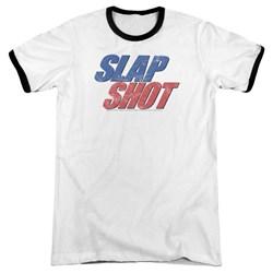 Slap Shot - Mens Blue And Red Logo Ringer T-Shirt