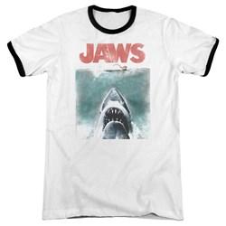 Jaws - Mens Vintage Poster Ringer T-Shirt