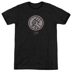 Hellboy II - Mens Mignola Style Logo Ringer T-Shirt