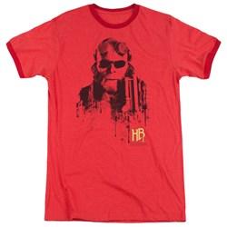 Hellboy II - Mens Splatter Gun Ringer T-Shirt