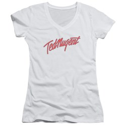 Ted Nugent - Juniors Clean Logo V-Neck T-Shirt