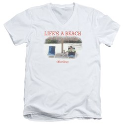 Office Space - Mens Lifes A Beach V-Neck T-Shirt