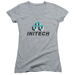 Office Space - Juniors Initech Logo V-Neck T-Shirt