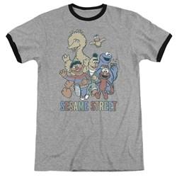 Sesame Street - Mens Colorful Group Ringer T-Shirt