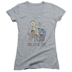 Sesame Street - Juniors Colorful Group V-Neck T-Shirt