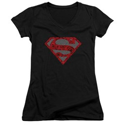 Superman - Juniors Elephant Rose Shield V-Neck T-Shirt