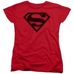 Superman - Womens Red & Black Shield T-Shirt
