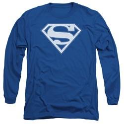 Superman - Mens Blue & White Shield Long Sleeve T-Shirt