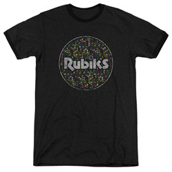 Rubik's Cube - Mens Circle Pattern Ringer T-Shirt