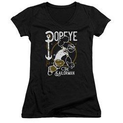 Popeye - Juniors Vintage Sailor V-Neck T-Shirt