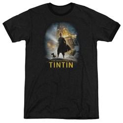 Tintin - Mens Poster Ringer T-Shirt
