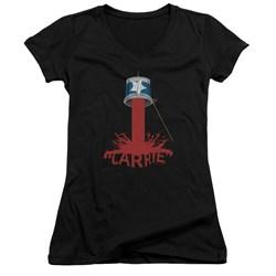 Carrie - Juniors Bucket Of Blood V-Neck T-Shirt