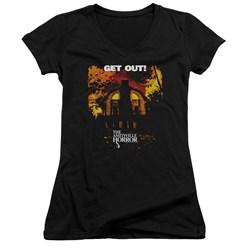 Amityville Horror - Juniors Get Out V-Neck T-Shirt