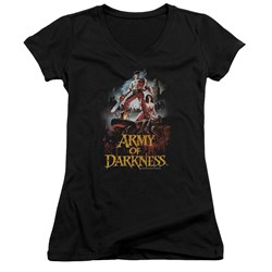 Army Of Darkness - Juniors Bloody Poster V-Neck T-Shirt