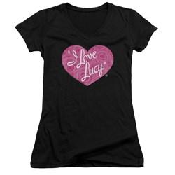 I Love Lucy - Juniors Floral Logo V-Neck T-Shirt