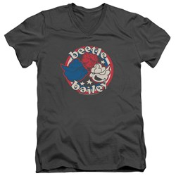 Beetle Bailey - Mens Red White And Bailey V-Neck T-Shirt