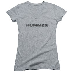 Hummer - Juniors Distressed Hummer Logo V-Neck T-Shirt
