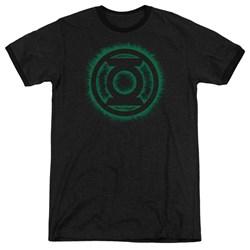 Green Lantern - Mens Green Flame Logo Ringer T-Shirt