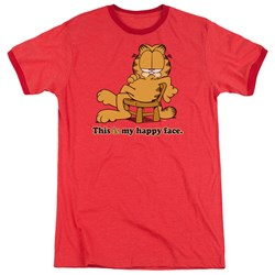 Garfield - Mens Happy Face Ringer T-Shirt