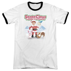 Santa Claus Is Comin To Town - Mens Animal Friends Ringer T-Shirt