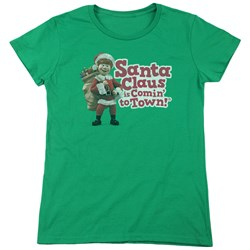 Santa Claus Is Comin To Town - Womens Santa Logo T-Shirt