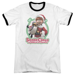 Santa Claus Is Comin To Town - Mens Penguin Ringer T-Shirt