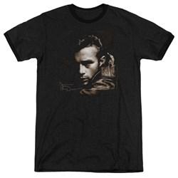 Dean - Mens Brown Leather Ringer T-Shirt