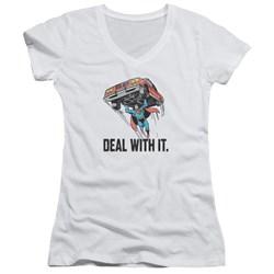 DC Comics - Juniors Deal With It V-Neck T-Shirt