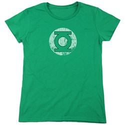 DC Comics - Womens Distressed Lantern Logo T-Shirt