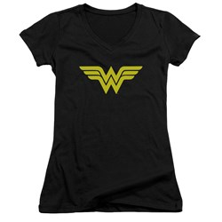 DC Comics - Juniors Wonder Woman Logo V-Neck T-Shirt