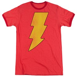 DC Comics - Mens Shazam Logo Distressed Ringer T-Shirt
