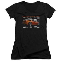 Chevrolet - Juniors Orange Z06 Vette V-Neck T-Shirt