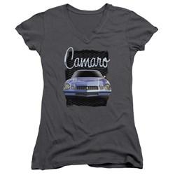 Chevrolet - Juniors Yellow Camaro V-Neck T-Shirt