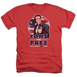 Happy Days - Mens Fonz For Prez Heather T-Shirt
