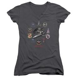 Battlestar Galactica - Juniors Badges V-Neck T-Shirt