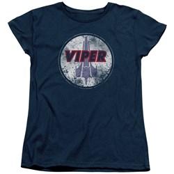 Battlestar Galactica - Womens War Torn Viper Logo T-Shirt